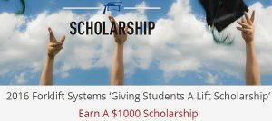 Forklift Systems Giving Students a Lift Scholarship