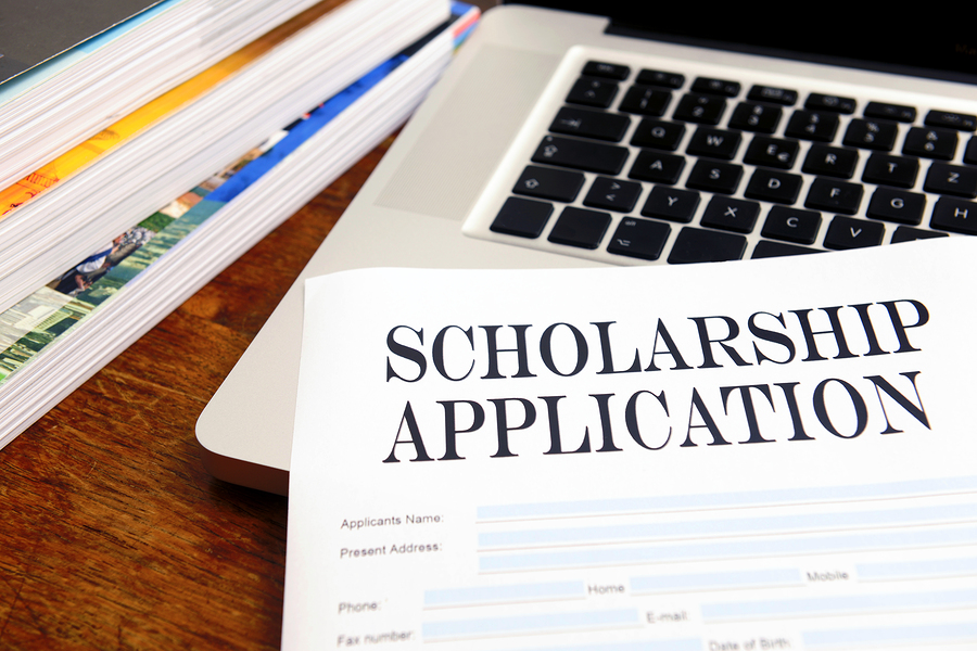 Scholarship Application logo with keyboard